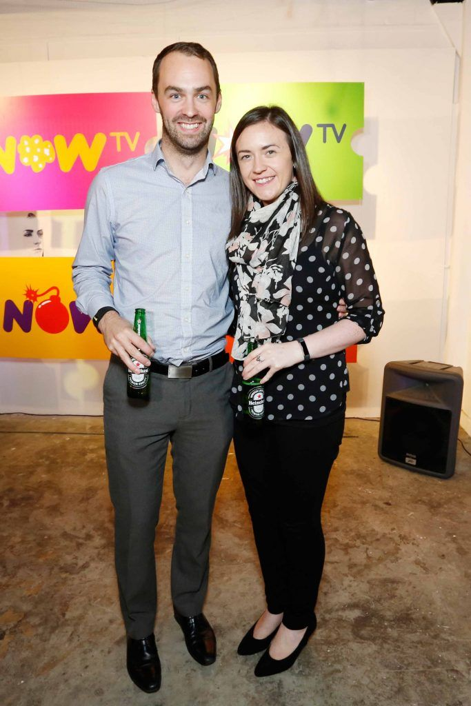 Sean Fotherington and Lorraine McCann pictured at the #NOWTVArtBattle which took place at Fumbally Exchange as part of this year's Dublin Fringe Festival.