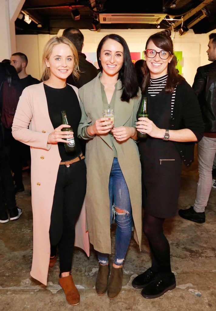 Carol-Ann Sherlock, Rachel Flood and Carla Simpson pictured at the #NOWTVArtBattle which took place at Fumbally Exchange as part of this year's Dublin Fringe Festival.