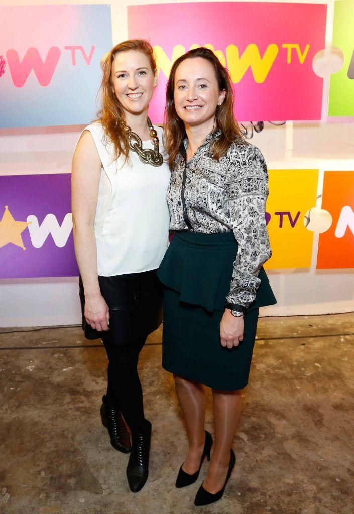 Olivia Naughton and Karen Reid pictured at the #NOWTVArtBattle which took place at Fumbally Exchange as part of this year's Dublin Fringe Festival.