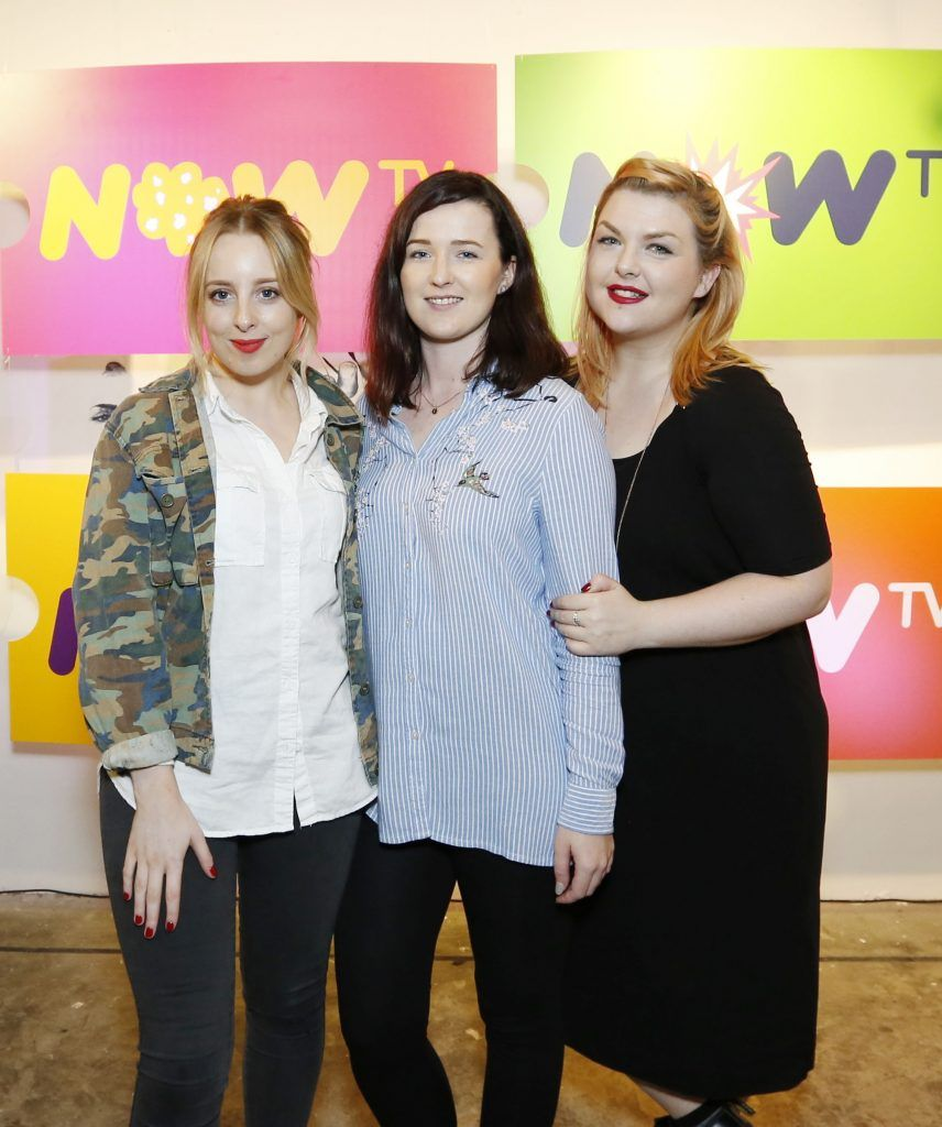 Tabitha Burke, Fiona Kirwan and Emma Morris pictured at the #NOWTVArtBattle which took place at Fumbally Exchange as part of this year's Dublin Fringe Festival.