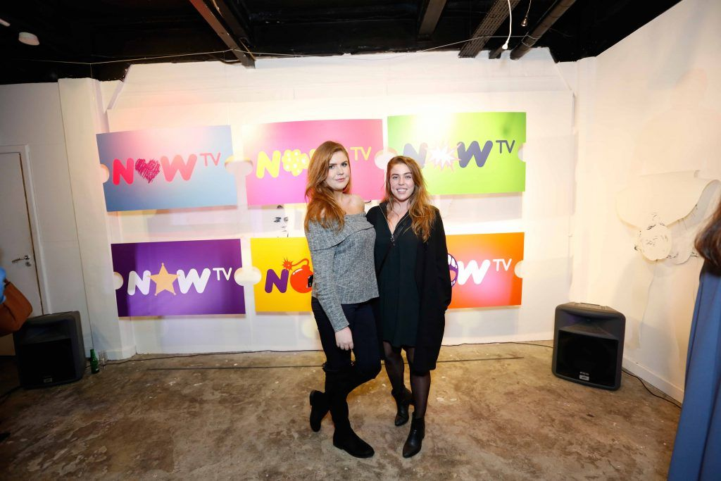 Lucy May Bradshaw and Sophie McLoughlin pictured at the #NOWTVArtBattle which took place at Fumbally Exchange as part of this year's Dublin Fringe Festival.