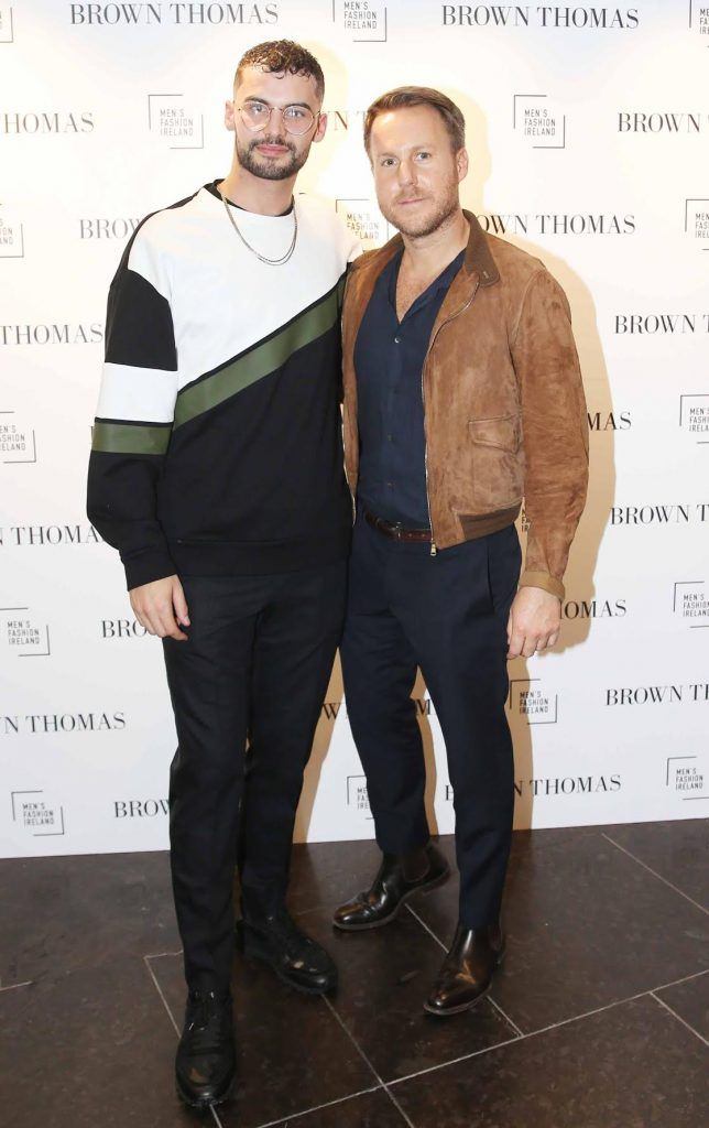 Adam Gaffey and Steve Bumett at the launch of the new issue of MFI Magazine at Brown Thomas, 28th September 2017. Photo: Sasko Lazarov/Photocall Ireland