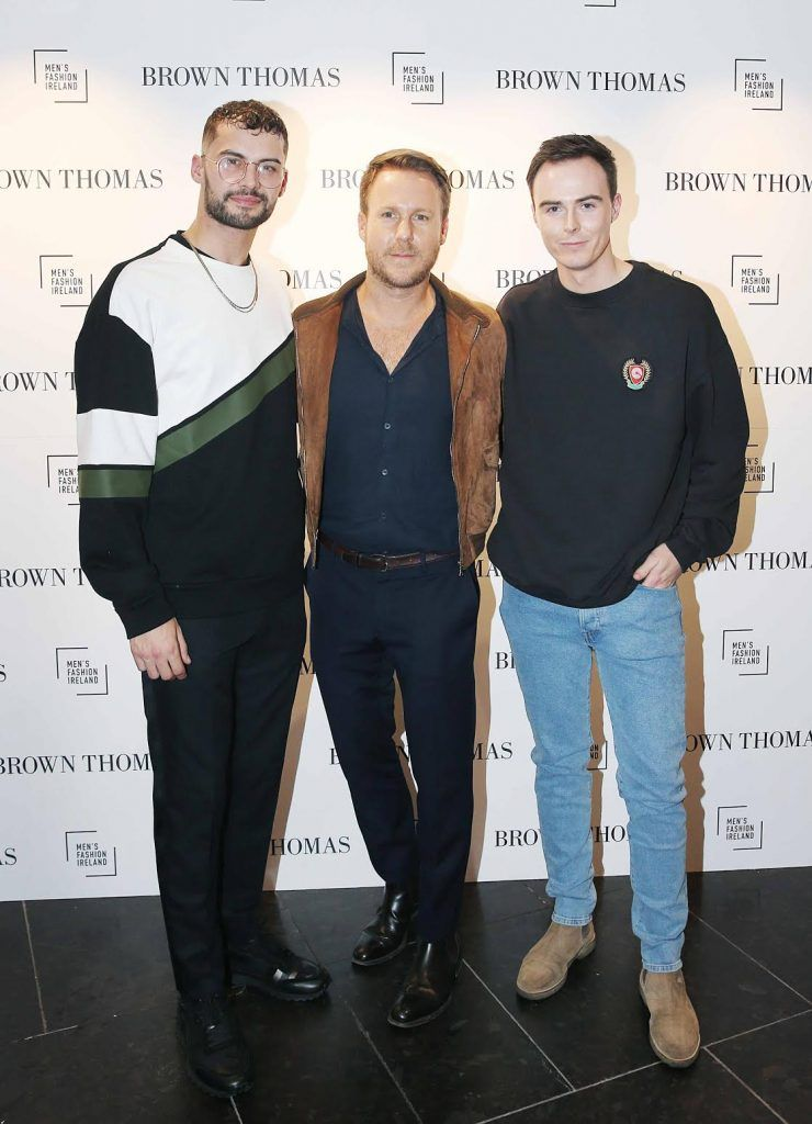 Adam Gaffey, Steve Bumett and Colin Fagan at the launch of the new issue of MFI Magazine at Brown Thomas, 28th September 2017. Photo: Sasko Lazarov/Photocall Ireland