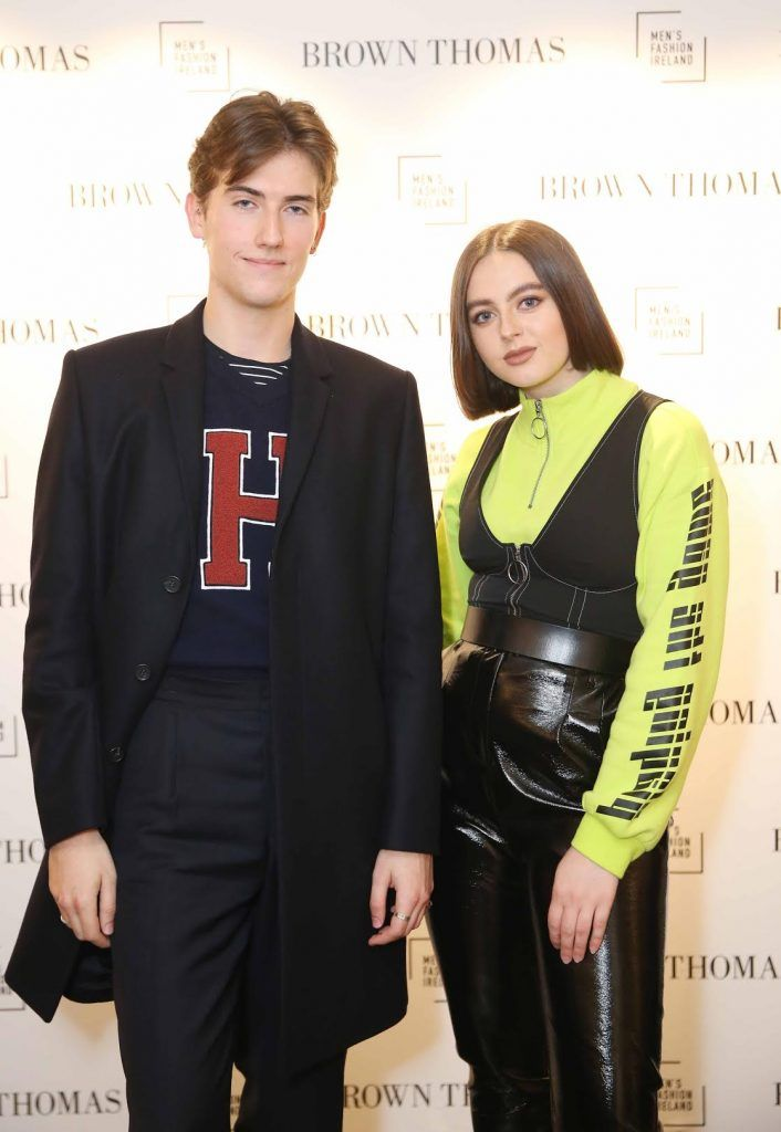 Conor Davage and Robin McGonigle at the launch of the new issue of MFI Magazine at Brown Thomas, 28th September 2017. Photo: Sasko Lazarov/Photocall Ireland