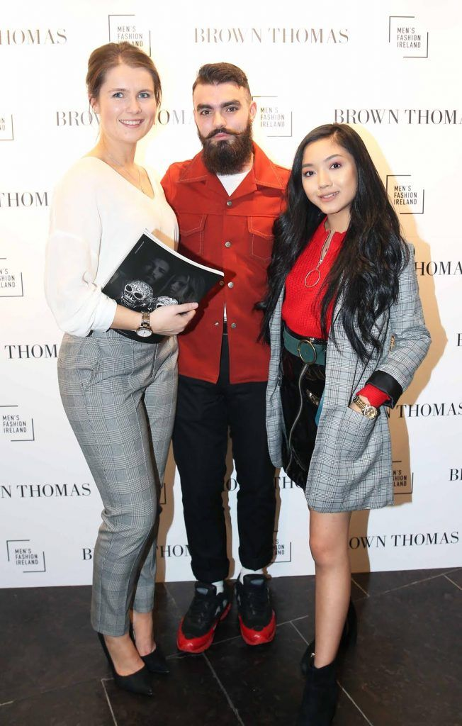 Dee Alfard, JakeMcCabe and Maeve Elliott at the launch of the new issue of MFI Magazine at Brown Thomas, 28th September 2017. Photo: Sasko Lazarov/Photocall Ireland
