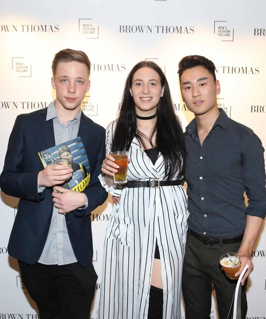 Kamil Kubiak, Iva Ray and Steven Peice at the launch of the new issue of MFI Magazine at Brown Thomas, 28th September 2017. Photo: Sasko Lazarov/Photocall Ireland