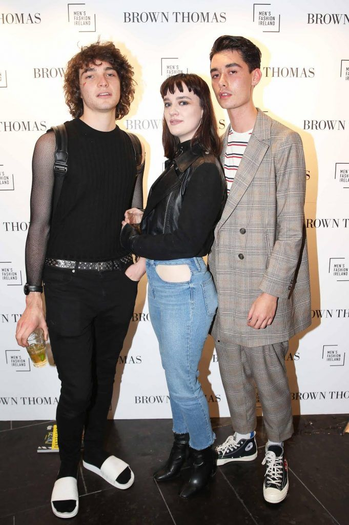 Cristopher Corcoran, Aileen Wad and Dean Nyugen at the launch of the new issue of MFI Magazine at Brown Thomas, 28th September 2017. Photo: Sasko Lazarov/Photocall Ireland