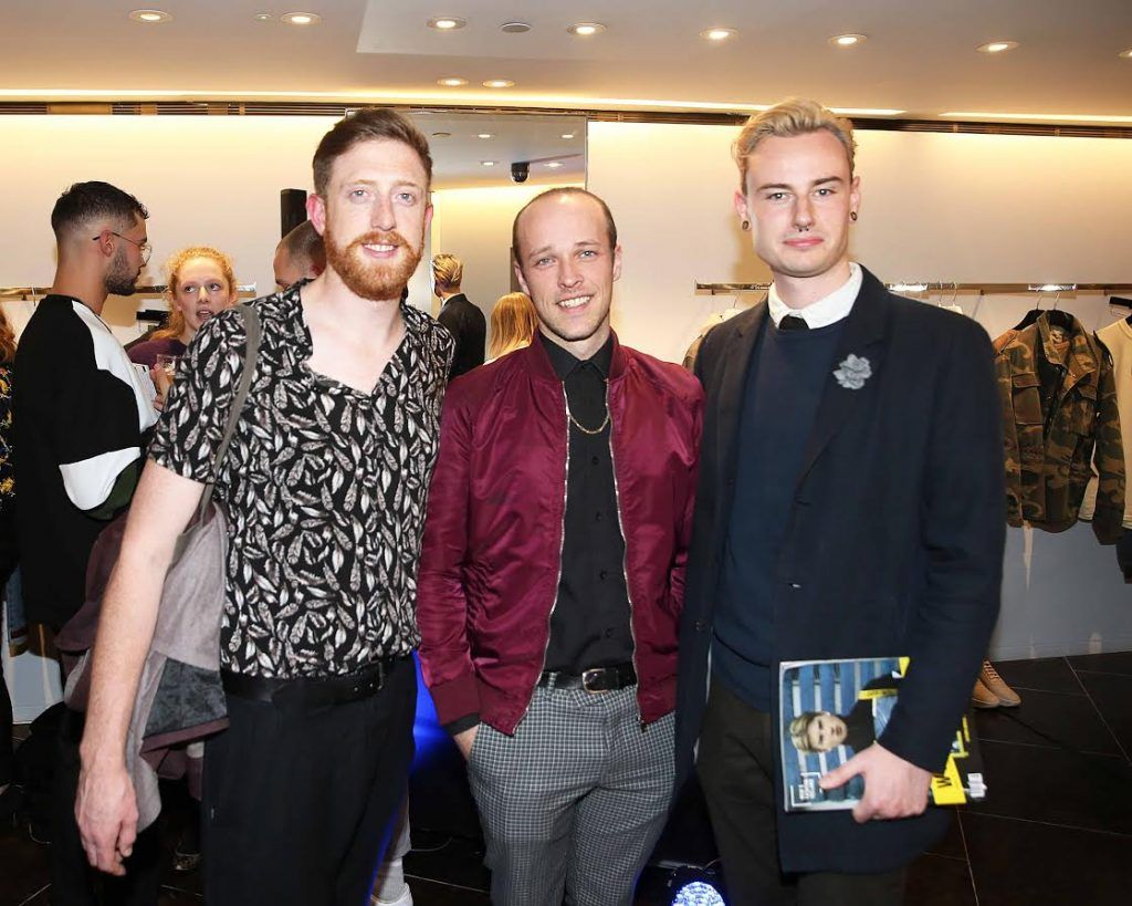 Seamus Clancy, Adrian O'Connor and Azzy O'Connor at the launch of the new issue of MFI Magazine at Brown Thomas, 28th September 2017. Photo: Sasko Lazarov/Photocall Ireland