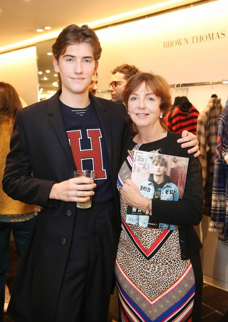 Conor Davage  and Mairin Coleman at the launch of the new issue of MFI Magazine at Brown Thomas, 28th September 2017. Photo: Sasko Lazarov/Photocall Ireland