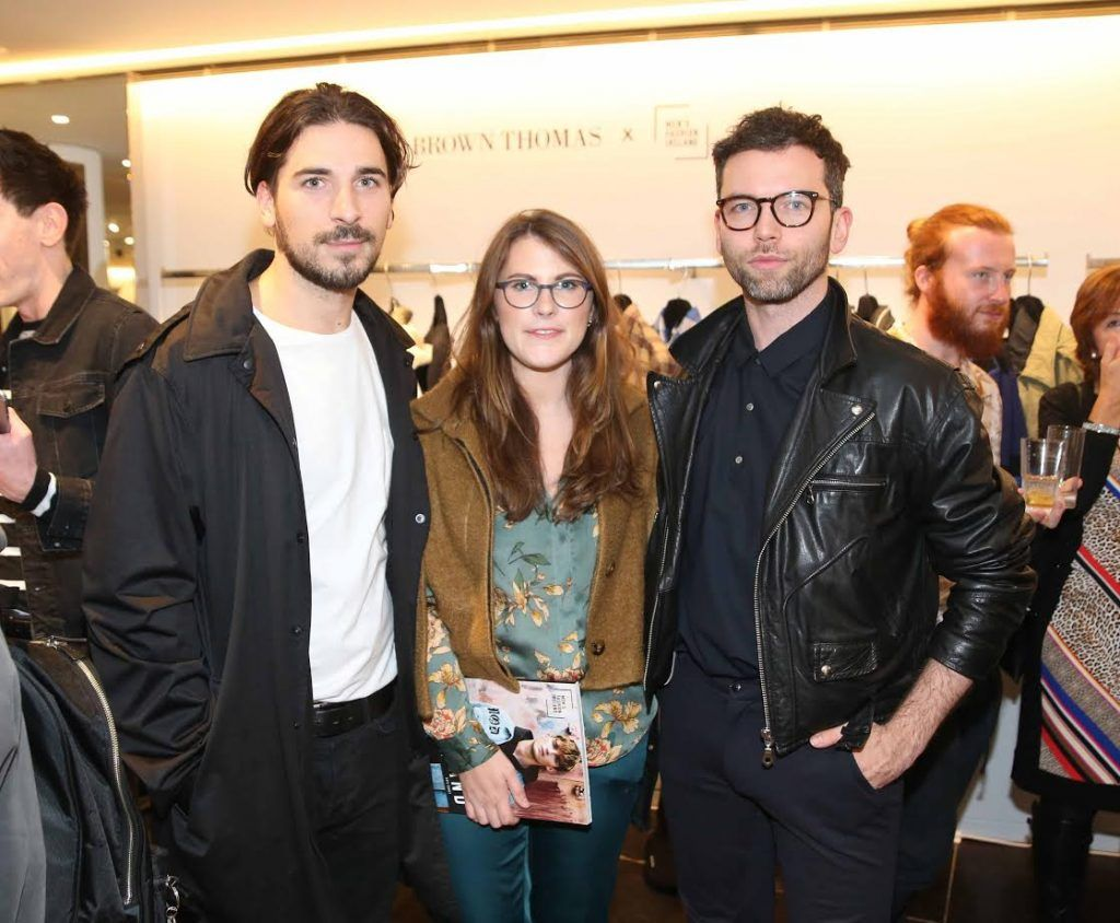 Kristijan Antolovic, Megan Browne and Andrija Solarevic at the launch of the new issue of MFI Magazine at Brown Thomas, 28th September 2017. Photo: Sasko Lazarov/Photocall Ireland