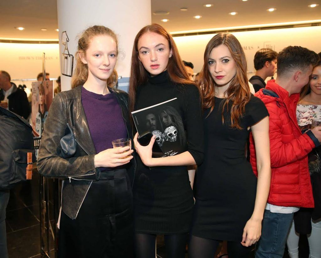 Briony Somers, Cauolaonn O'Reilly and Paluma Feijuo at the launch of the new issue of MFI Magazine at Brown Thomas, 28th September 2017. Photo: Sasko Lazarov/Photocall Ireland