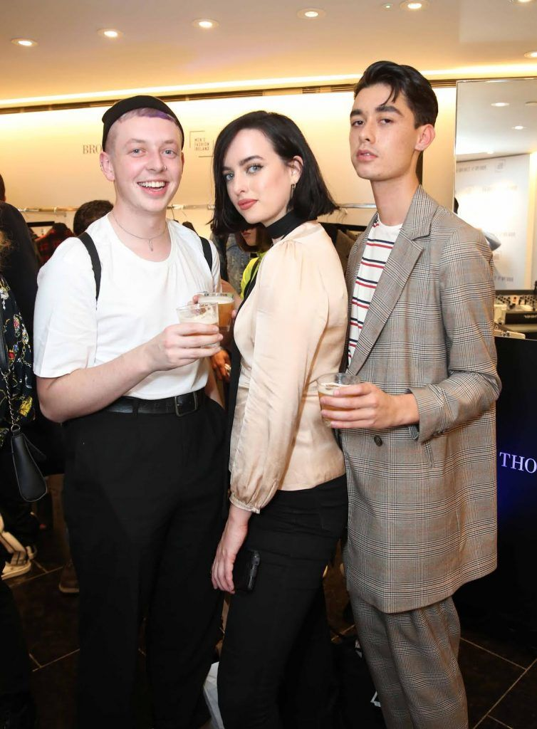 Cormac O'Donnell, Ruth Walsh and Dean Nyugen at the launch of the new issue of MFI Magazine at Brown Thomas, 28th September 2017. Photo: Sasko Lazarov/Photocall Ireland