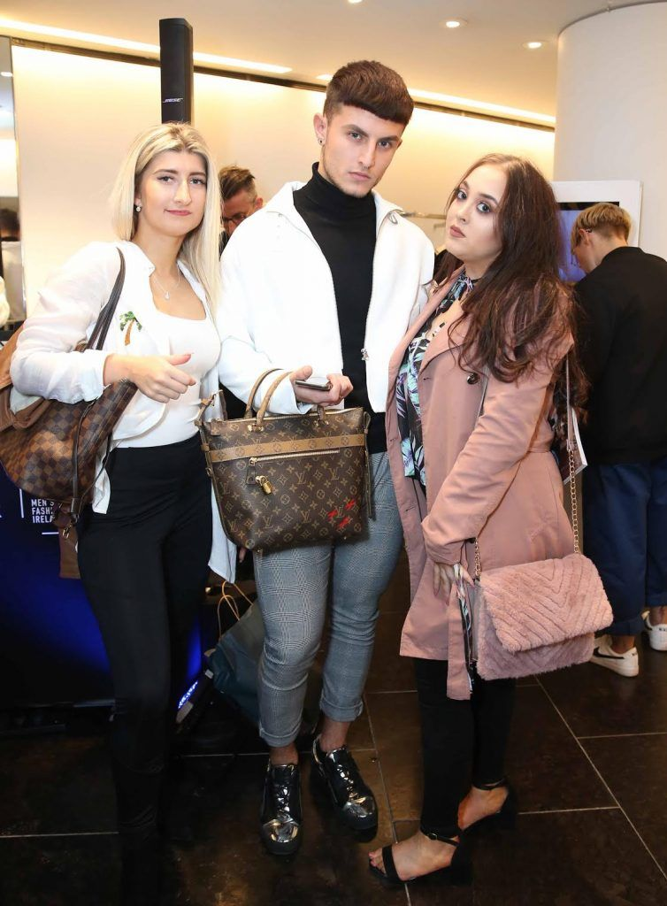Gabriele Ramunyte, Alexander Cristeo and Jesica Hawkins at the launch of the new issue of MFI Magazine at Brown Thomas, 28th September 2017. Photo: Sasko Lazarov/Photocall Ireland