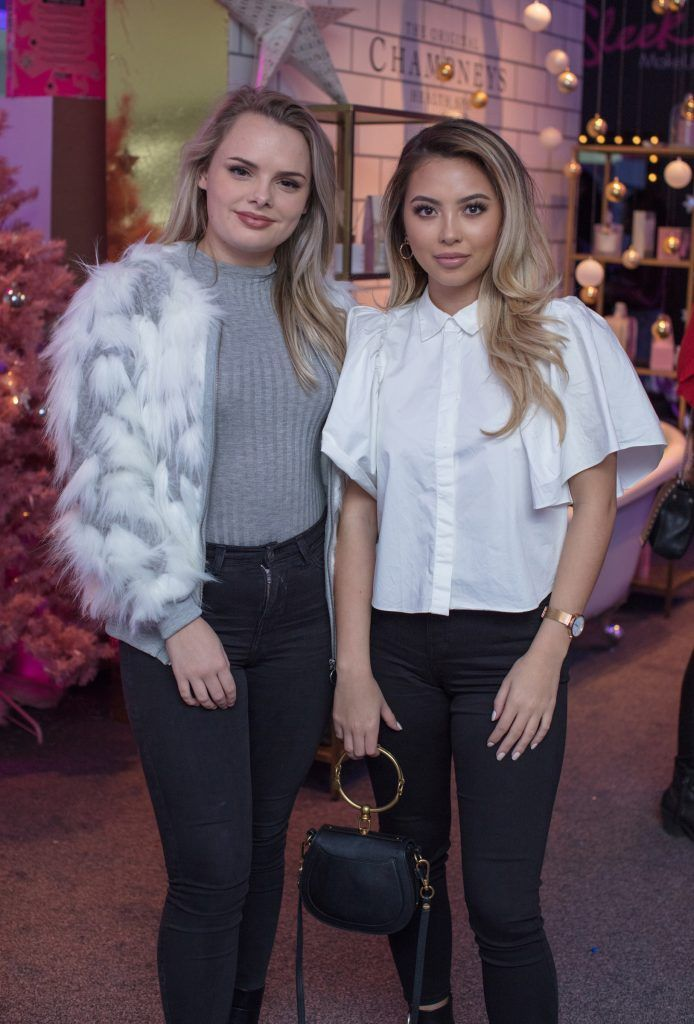 Aisling Chan & Emma McEvoy pictured on 3rd October 2017 at the exclusive Boots Christmas preview event in the Bord Gais Energy Theatre. Photo: Anthony Woods