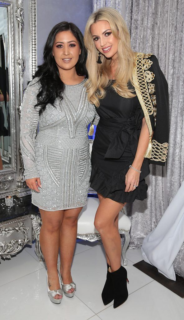 Michelle Kerslake and Rosanna Davison at the launch of Beautique Beauty Studio in Fashion City, Ballymount, Dublin. Picture: Brian McEvoy