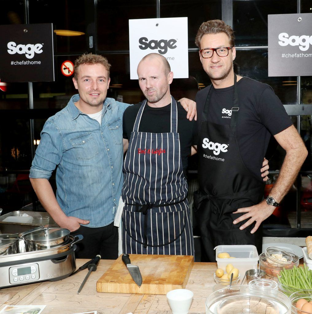 Adam McMenamin, Oliver Dunne and Federico Riezzo pictured at the official Sage Appliances Launch Event in Ireland which took place in Two Fitfty Square, Rathmines (4th October 2017). Pic: Marc O'Sullivan
