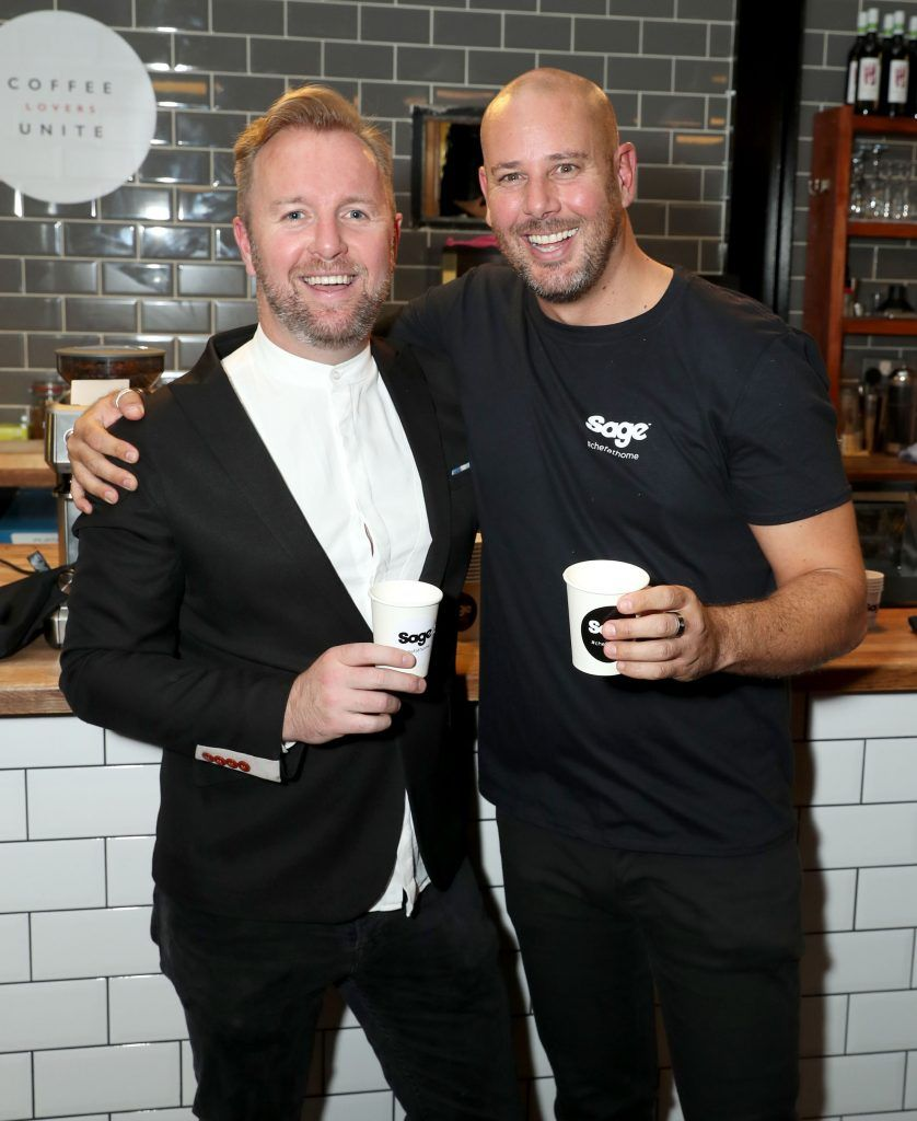 Ciaran McGonagle and Cameron Boult pictured at the official Sage Appliances Launch Event in Ireland which took place in Two Fitfty Square, Rathmines (4th October 2017). Pic: Marc O'Sullivan
