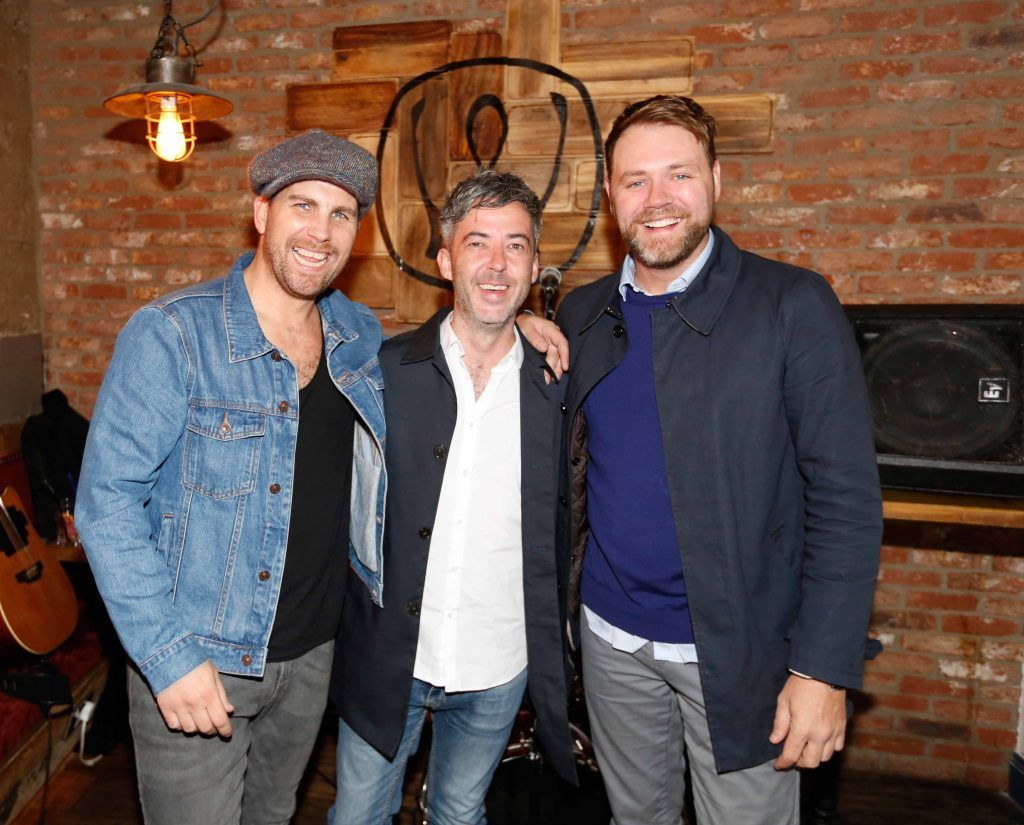 Pictured are (LtoR) Musician Robbie Doyle, James Stimpson and Brian McFadden at the first birthday celebrations of Wishbone restaurant, Montague Lane, D2. Photo: Sasko Lazarov/Photocall Ireland
