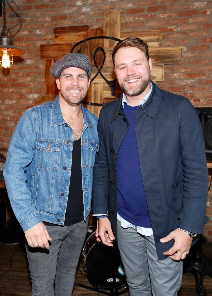 Pictured are (LtoR) Musician Robbie Doyle and Brian McFadden at the first birthday celebrations of Wishbone restaurant, Montague Lane, D2. Photo: Sasko Lazarov/Photocall Ireland
