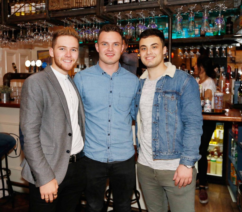 Pictured are (LtoR) Karl Williams, Cian Brennan and Josh Stafford at the first birthday celebrations of Wishbone restaurant, Montague Lane, D2. Photo: Sasko Lazarov/Photocall Ireland