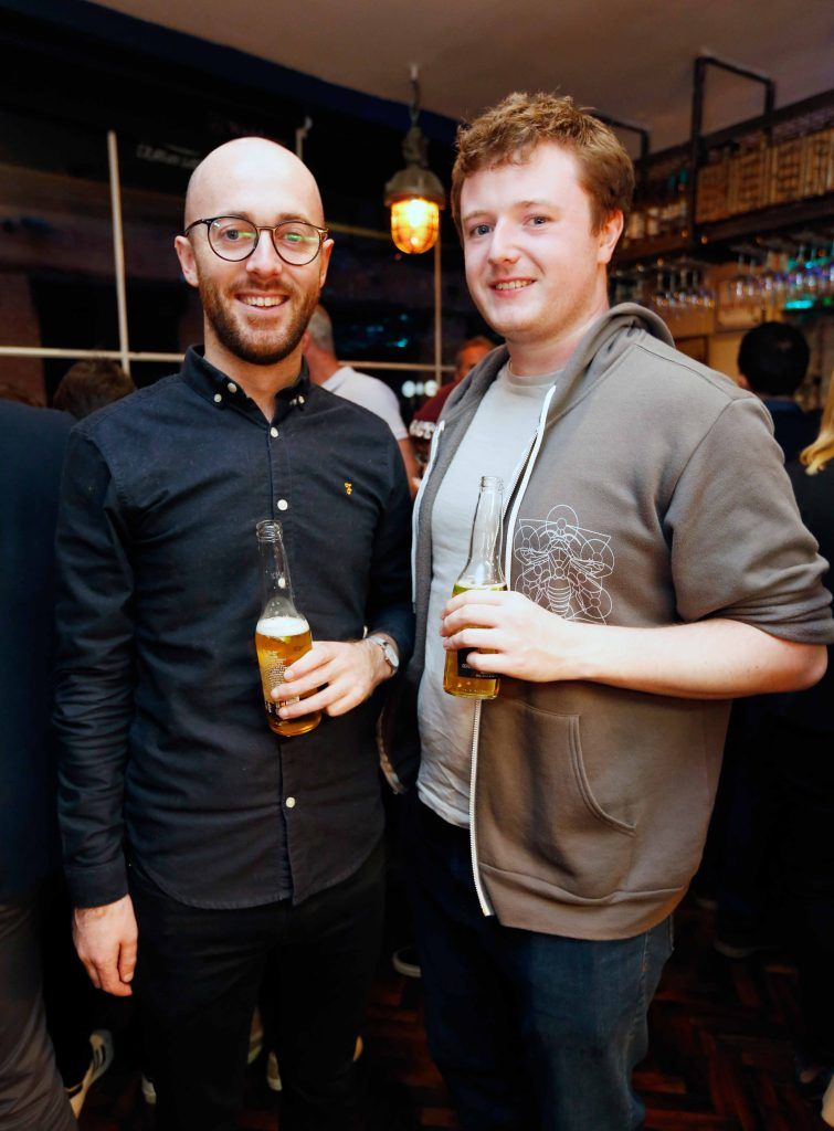 Pictured are (LtoR) Adam Hetherington and Niall Gaffney at the first birthday celebrations of Wishbone restaurant, Montague Lane, D2. Photo: Sasko Lazarov/Photocall Ireland