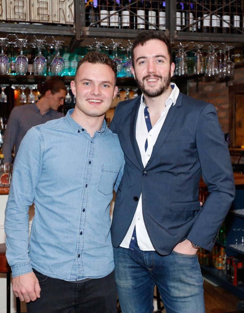 Pictured are (LtoR) Cian Brennan and Luke Murphy at the first birthday celebrations of Wishbone restaurant, Montague Lane, D2. Photo: Sasko Lazarov/Photocall Ireland