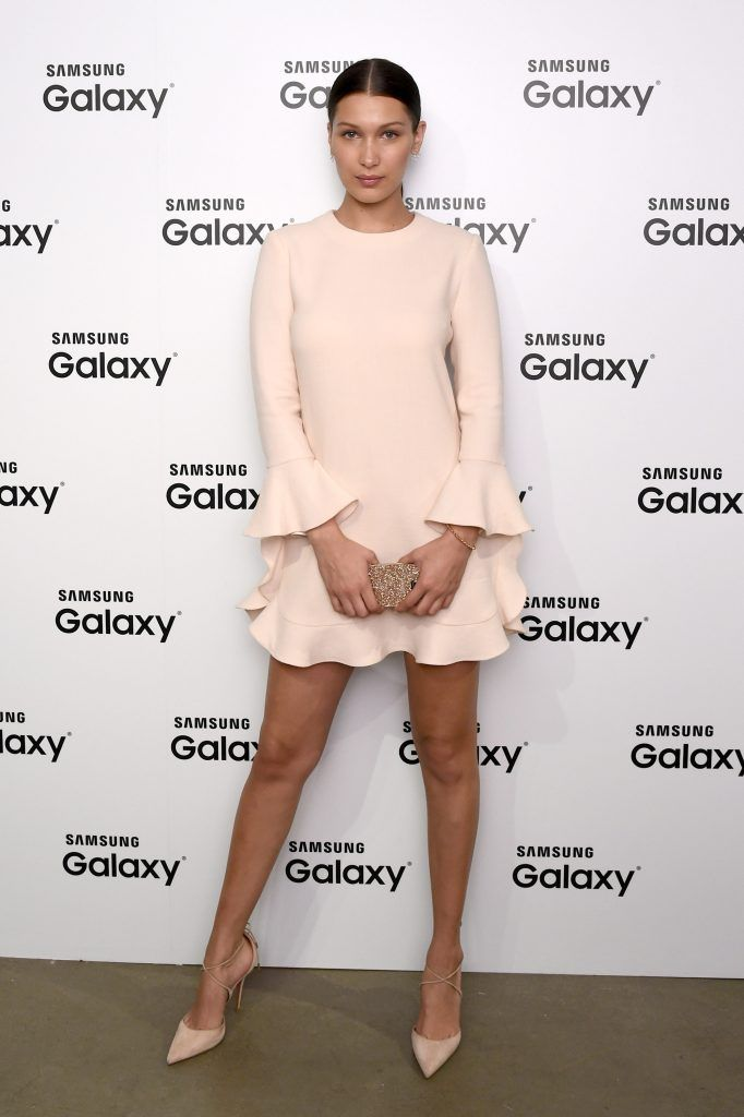 Bella Hadid attends the launch of Samsungs fall Lookbook in celebration of the new Samsung Galaxy S6 edge+ and Galaxy Note5 at the Samsung Galaxy Studio in Soho on August 13, 2015 in New York City.  (Photo by Ilya S. Savenok/Getty Images for Samsung)