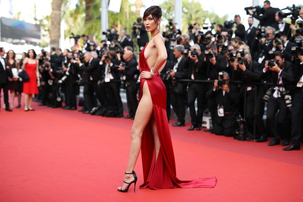 """Bella Hadid attends """"The Unknown Girl (La Fille Inconnue)"""" Premiere duirng the annual 69th Cannes Film Festival at Palais des Festivals on May 18, 2016 in Cannes, France.  (Photo by Andreas Rentz/Getty Images)"""