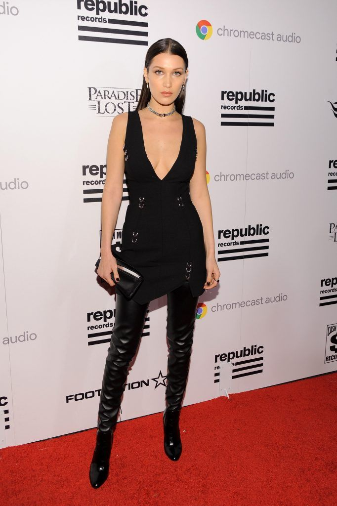 Bella Hadid attends the Republic Records Grammy Celebration presented by Chromecast Audio at Hyde Sunset Kitchen & Cocktail on February 15, 2016 in Los Angeles, California.  (Photo by Angela Weiss/Getty Images for Republic Records)
