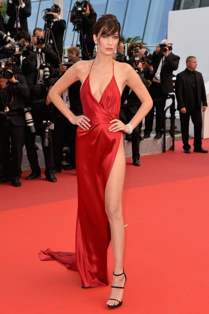 """Bella Hadid attends """"The Unknown Girl (La Fille Inconnue)"""" Premiere duirng the annual 69th Cannes Film Festival at Palais des Festivals on May 18, 2016 in Cannes, France.  (Photo by Pascal Le Segretain/Getty Images)"""