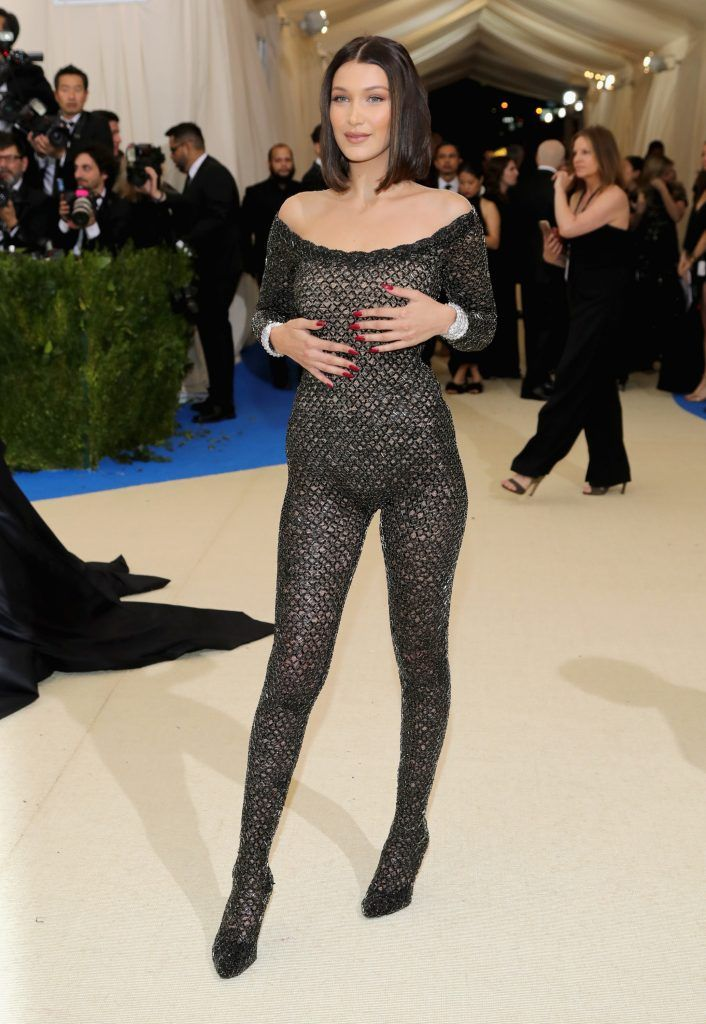 """Bella Hadid attends the """"Rei Kawakubo/Comme des Garcons: Art Of The In-Between"""" Costume Institute Gala at Metropolitan Museum of Art on May 1, 2017 in New York City.  (Photo by Neilson Barnard/Getty Images)"""