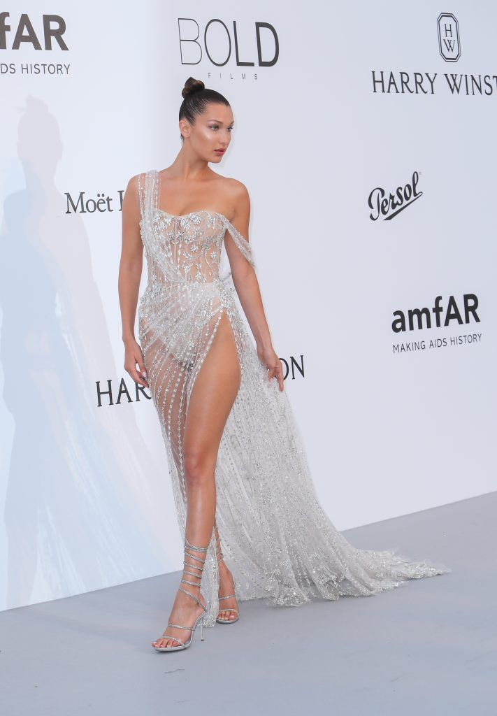Bella Hadid arrives for the 24th annual amfAR fundraiser during the Cannes Film Festival at the Hotel Eden Roc in Cap D'Antibes on 25 May 2017 (Photo by John Rainford/WENN.com)