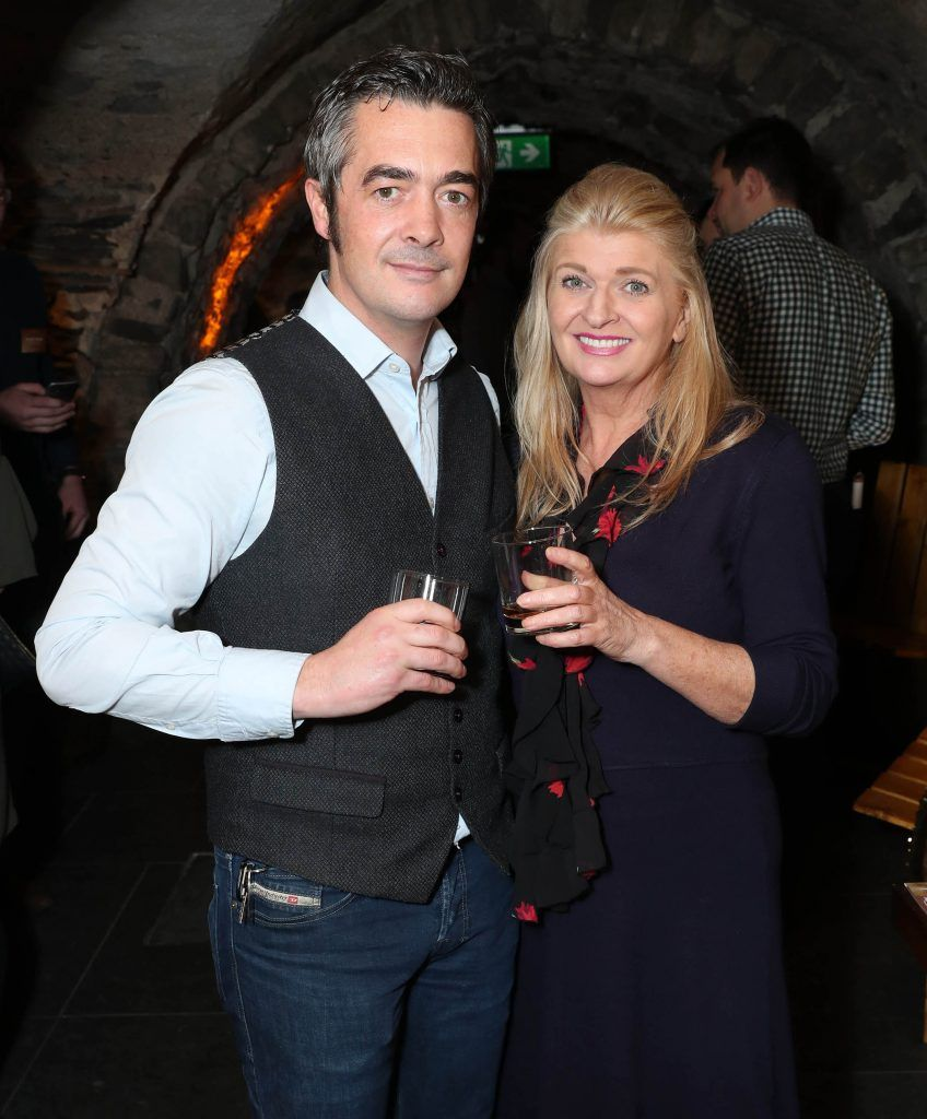 Barry Maguire and Averil Hogan pictured at SuperValu's #WhiskeyExclusives event in The Crypt at Christchurch Cathedral on 11th October 2017. Guests got to enjoy a selection of Premium Irish Whiskey. Pic: Marc O'Sullivan