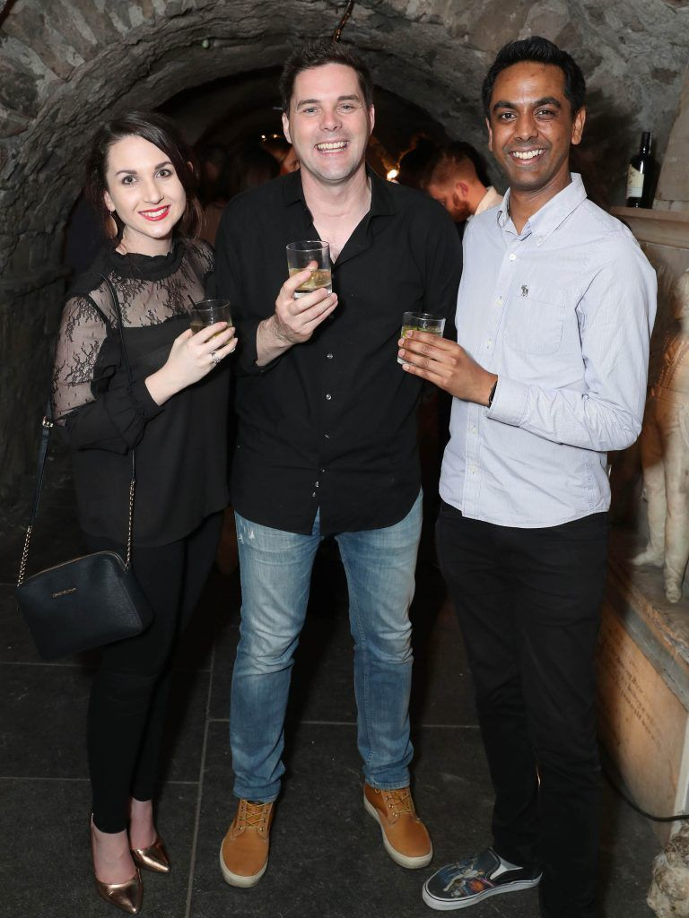 Siobhan McDonnell , Marty Miller and Clint Dreiberg pictured at SuperValu's #WhiskeyExclusives event in The Crypt at Christchurch Cathedral on 11th October 2017. Guests got to enjoy a selection of Premium Irish Whiskey. Pic: Marc O'Sullivan