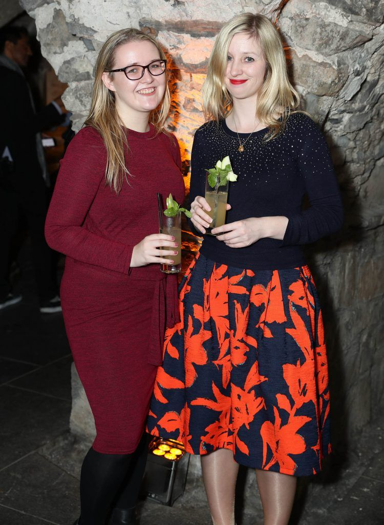 Bronwyn O'Neill and Claire Hyland pictured at SuperValu's #WhiskeyExclusives event in The Crypt at Christchurch Cathedral on 11th October 2017. Guests got to enjoy a selection of Premium Irish Whiskey. Pic: Marc O'Sullivan