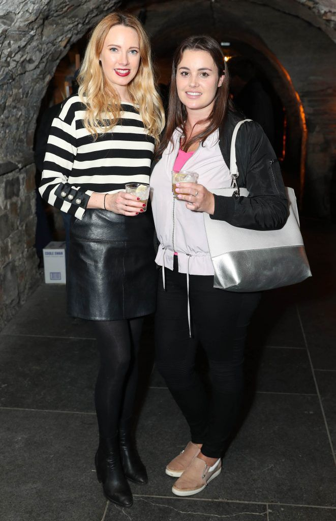 Niamh O'Shaughnessy and Sarah-Ann Sweeney pictured at SuperValu's #WhiskeyExclusives event in The Crypt at Christchurch Cathedral on 11th October 2017. Guests got to enjoy a selection of Premium Irish Whiskey. Pic: Marc O'Sullivan