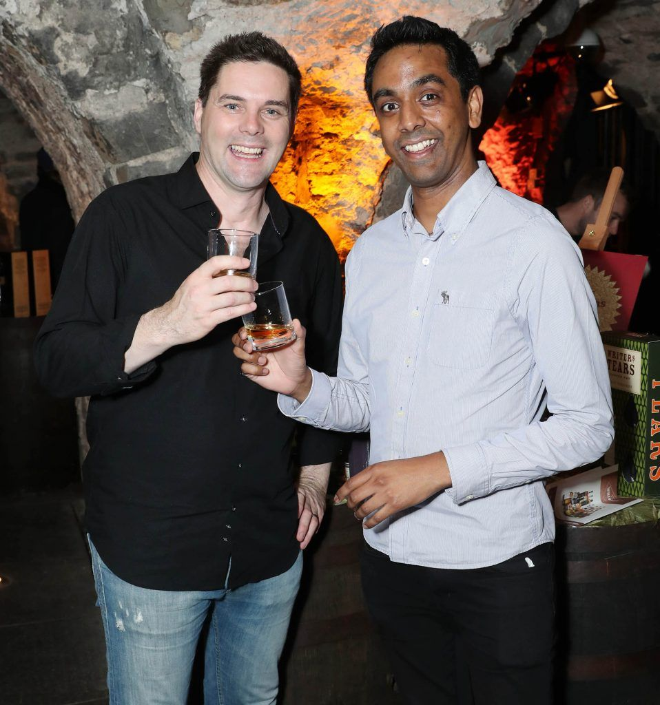 Marty Miller and Clint Dreiberg pictured at SuperValu's #WhiskeyExclusives event in The Crypt at Christchurch Cathedral on 11th October 2017. Guests got to enjoy a selection of Premium Irish Whiskey. Pic: Marc O'Sullivan