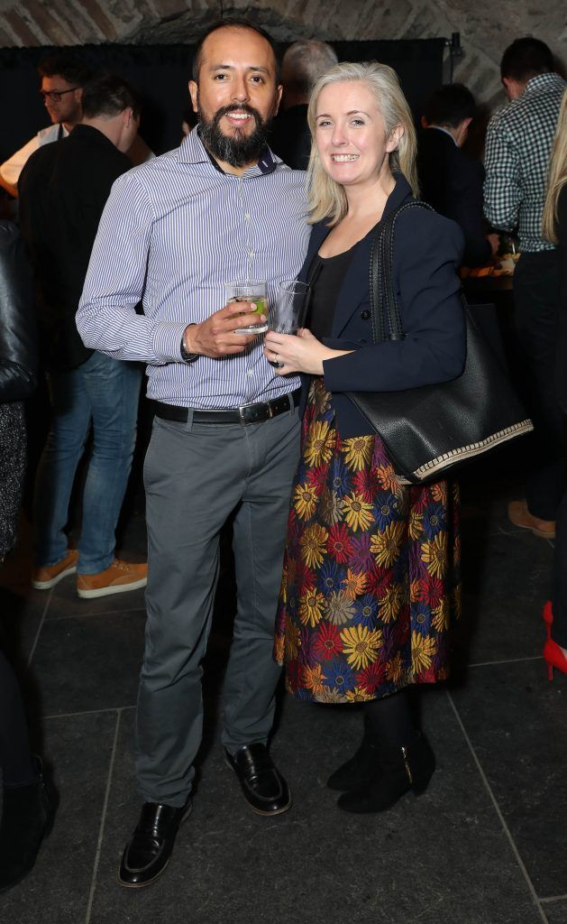Gianmarco Columbus and Claire Murphy pictured at SuperValu's #WhiskeyExclusives event in The Crypt at Christchurch Cathedral on 11th October 2017. Guests got to enjoy a selection of Premium Irish Whiskey. Pic: Marc O'Sullivan