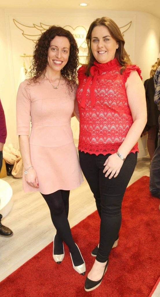 Corina Laffy and Lynda Fraher pictured at the official opening of the Phoenix-V boutique located on 39 Stephen Street Lower Dublin. Photo: Leon Farrell/Photocall Ireland.