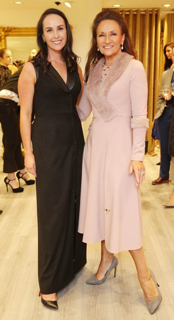 Liza Brennan and Celia Holman Lee pictured at the official opening of the Phoenix-V boutique located on 39 Stephen Street Lower Dublin. Photo: Leon Farrell/Photocall Ireland.
