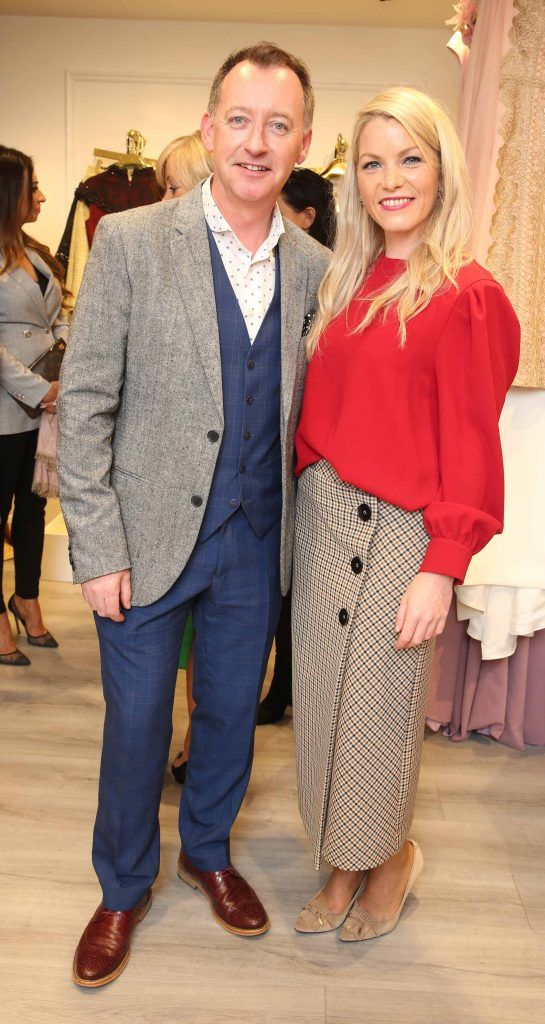 Niall Tyrrell and Catherine Lundon pictured at the official opening of the Phoenix-V boutique located on 39 Stephen Street Lower Dublin. Photo: Leon Farrell/Photocall Ireland.
