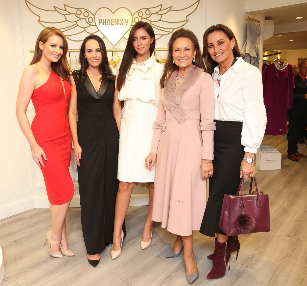 Lisa Kavanagh, Liza Brennan, Jessica Hayes,  Celia Holman Lee and Annoitte Rocca pictured at the official opening of the Phoenix-V boutique located on 39 Stephen Street Lower Dublin. Photo: Leon Farrell/Photocall Ireland.