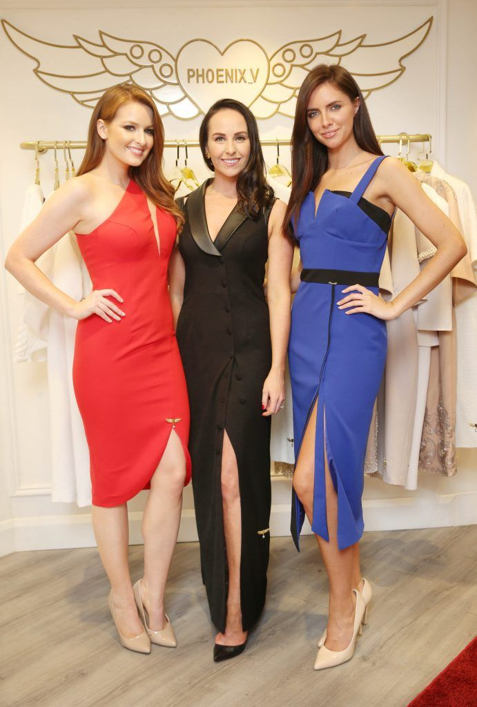 Lisa Kavanagh, Liza Brennan and Jessica Hayes pictured at the official opening of the Phoenix-V boutique located on 39 Stephen Street Lower Dublin. Photo: Leon Farrell/Photocall Ireland.