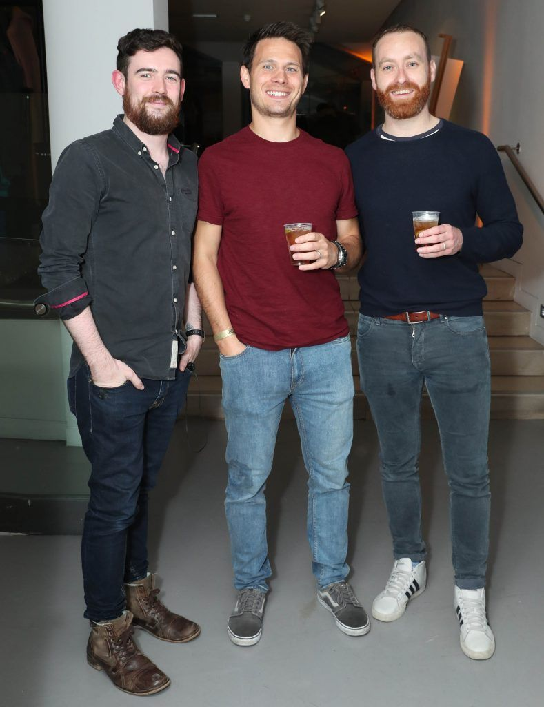 Simon Traynor, Ryan Glynn and John McNicholas at the RHA's Hennessy Lost Friday's final installment of 2017 on October 21st. Pic: Marc O'Sullivan