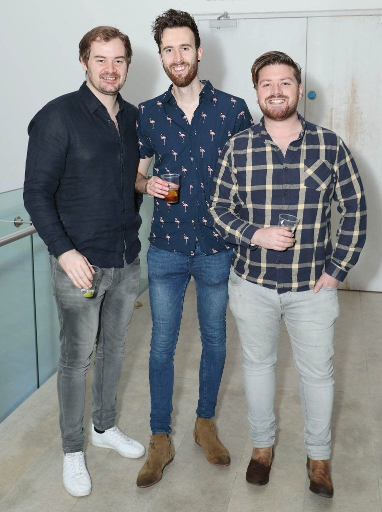 Cormac Moore, Nathan O'Reilly and Thomas Crosse at the RHA's Hennessy Lost Friday's final installment of 2017 on October 21st. Pic: Marc O'Sullivan