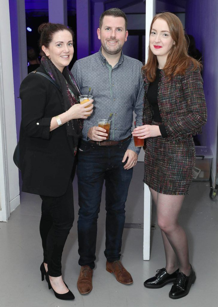 Grainne Morgan, Eoin Maunsell and Hazel Davis at the RHA's Hennessy Lost Friday's final installment of 2017 on October 21st. Pic: Marc O'Sullivan