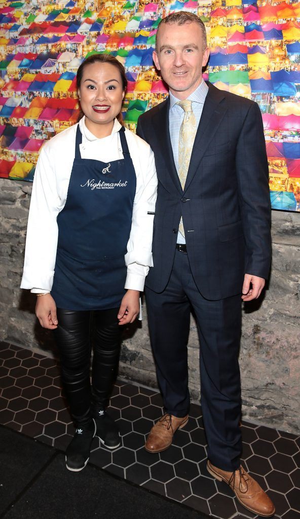 Jutarat Suwankeeree and Conor Sexton at the launch of the new first floor of Nightmarket Thai Restaurant, Ranelagh. Photo: Brian McEvoy
