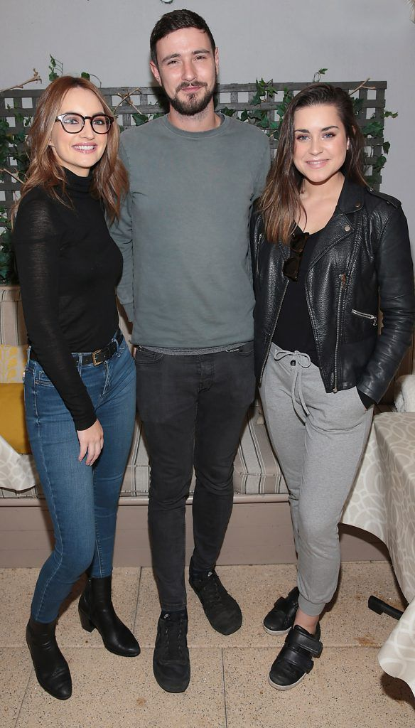 Caroline Foran, Jay Boland from Kodaline and Jo Linehan pictured at the exclusive Audi Christmas Luncheon on Suesey Street Restaurant, Dublin. Photo: Brian McEvoy