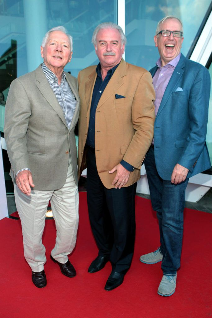 Gay Byrne,Marty Whelan and Rory Cowan at the  opening night of The Sound of Music at The Bord Gais Energy Theatre Dublin..Pictures:Brian McEvoy