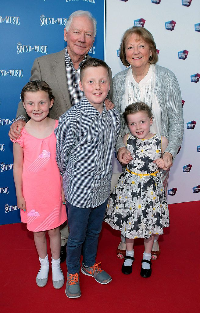 Gay Byrne and Kathleen Watkins with grand children  Sadhbh ,Cian and Saoirse O Byrne at the  opening night of The Sound of Music at The Bord Gais Energy Theatre Dublin...Pictures:Brian McEvoy